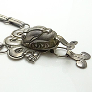 Vintage Sterling Silver Mexican Dragon Necklace