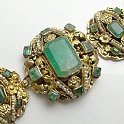 REDUCED Rare Austro Hungarian Approx. 18 Carats  Emerald 800 Silver Seed Pearl Bracelet