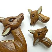 Large Vintage Wooden Reindeer Deer Pin and Earring Set