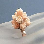 REDUCED Antique 14k Gold Carved Angel Skin Coral Flower Ring