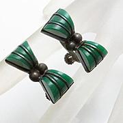 Vintage 1940s Carved Onyx Mexican Bracelet Screw On Earrings Set