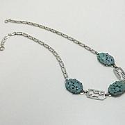 Vintage 1920s Molded Glass Flower Enamel German Necklace
