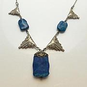 Vintage Art Deco Blue Glass Necklace