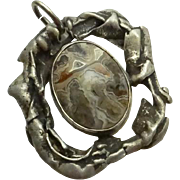 Unique Sterling Silver Gray Crazy Lace Agate Pendant