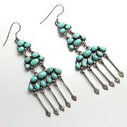 Long Vintage Sterling Silver Turquoise Indian Drop Earrings