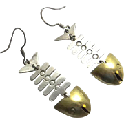Sterling Silver Mexican Fish Bone Mixed Metal Earrings