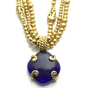 Liz Claiborne Blue Cobalt Glass Necklace