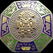 Signed Vintage Sterling Silver 18 Karat Enamel Peruvian  Inca Warrior Pendant Brooch Pin