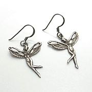 Vintage Sterling Silver Nude Fairy Earrings