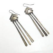 Vintage Modernist Sterling Silver Dangle Earrings Long 3 Inches