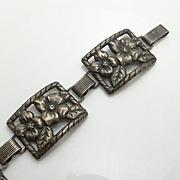 Vintage Danecraft Felch Company Sterling Silver Clematis Flower Panel Bracelet