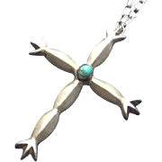 Large Vintage Indian Sand Cast Cross Pendant Sterling Silver Turquoise  Mexican Sterling Chain