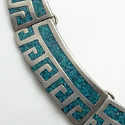Mexican Taxco Sterling Silver Turquoise Inlay Mosaic Aztec Necklace