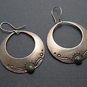 Vintage Sterling Silver Sand Cast Indian Stamped Dangle Hoop Earrings