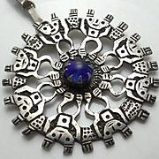Large Vintage Ecuador Aztec Blue Glass Necklace Pendant