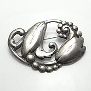 Vintage Sterling Silver Flower Pin