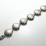 Mexican Taxco Sterling Silver Shell Like Bracelet