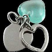 Lalique Aqua Blue Crystal Sterling Silver Heart Pendant
