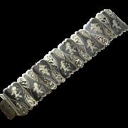 Wide Vintage Fancy Sterling Silver Siam Niello Filigree Bracelet
