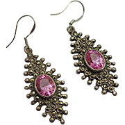 Vintage Sterling Silver Marcasite Pink Stone Earrings Unique