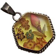 Vintage Sterling Silver Pressed Dried Flower Lucite Necklace Pendant