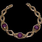 Vintage Art Deco Purple Stone Gold Filled Bracelet