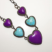 Vintage Navajo Indian Jerry Bahe Turquoise Sterling Silver Purple Stone Heart Necklace