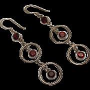 Long Vintage Modernist Sterling Silver Red Garnet  Drop Dangle Earrings