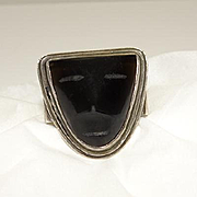 Vintage Fred Davis Mexican Face Sterling Silver Ring Size 6 Rare