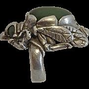 Vintage Sterling Silver Jade Beetle Bug Ring Native American Ring Unique!