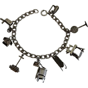 Vintage 1920-1940s Early Sterling Silver Charm Bracelet Moving Charms