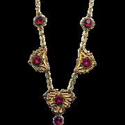 SALE Vintage Art Nouveau Red Glass Enamel Drop Necklace