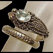 Bali Sterling Silver Topaz Dragon Wrap Ring