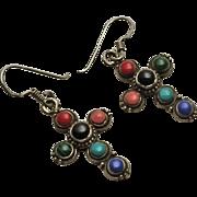 Vintage Sterling Silver Cross Earrings Genuine Stone Coral Turquoise