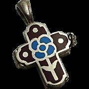 Vintage Enamel Sterling Silver Flower Cross Opens Hidden Compartment Pendant