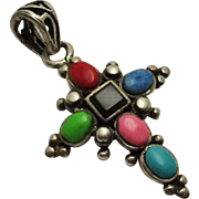 Vintage Sterling Silver Stone  Cross Pendant
