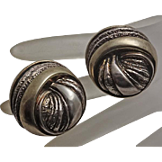 Nurit Shoshanna Bar- On Sterling Silver Large Fancy Clip On Button Earrings