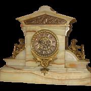 SOLD Ansonia White Onyx Figural Mantel Clock