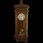 "Waterbury Clock Co. ""Halifax"" Hanging Wall Regulator Clock"