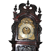Elliott Nine Tube Carved Mahogany Grandfather Tallcase Clock