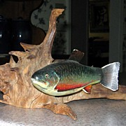 Folk Art Carved and Painted Brook Trout