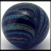 Glass Eye Studio Dichroic Paperweight Rainbows in Cobalt Blue Miniature Glass Orb