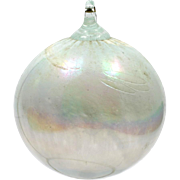 Art Glass Christmas Ornament Hand Blown White iridescent Holiday Decoration