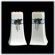 SALE Hand Painted Porcelain Salt and Pepper Shakers Signed Cecil Vintage Flowers Blue
