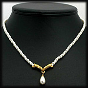 Elegant Napier Faux Pearl Drop Necklace with Gold Tone Accents