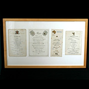 SALE Antique Victorian Menus Set of 4 Framed French Themes