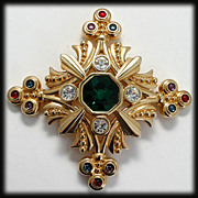 SOLD Swarovski Goldtone Cross Brooch Multicolored Rhinestones and Cabs