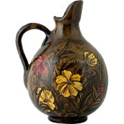 SALE Antique Art Pottery Pitcher Hand Painted Red Yellow Flowers Dark background Signed N1494