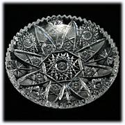 SALE American Brilliant Cut Glass Plate High Quality Fine Cutting Antique ABP