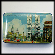 SALE Vintage British Blue Bird Toffee Tin Westminster Abbey